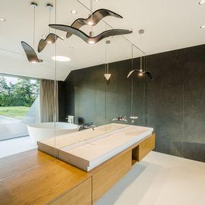 Szklane tafle i lustra zapewniły łazience poczucie przestrzenności znane z całego projektu. Green Line House od Mobius Architekci Przemek Olczyk. Fot. Paweł Ulatowski