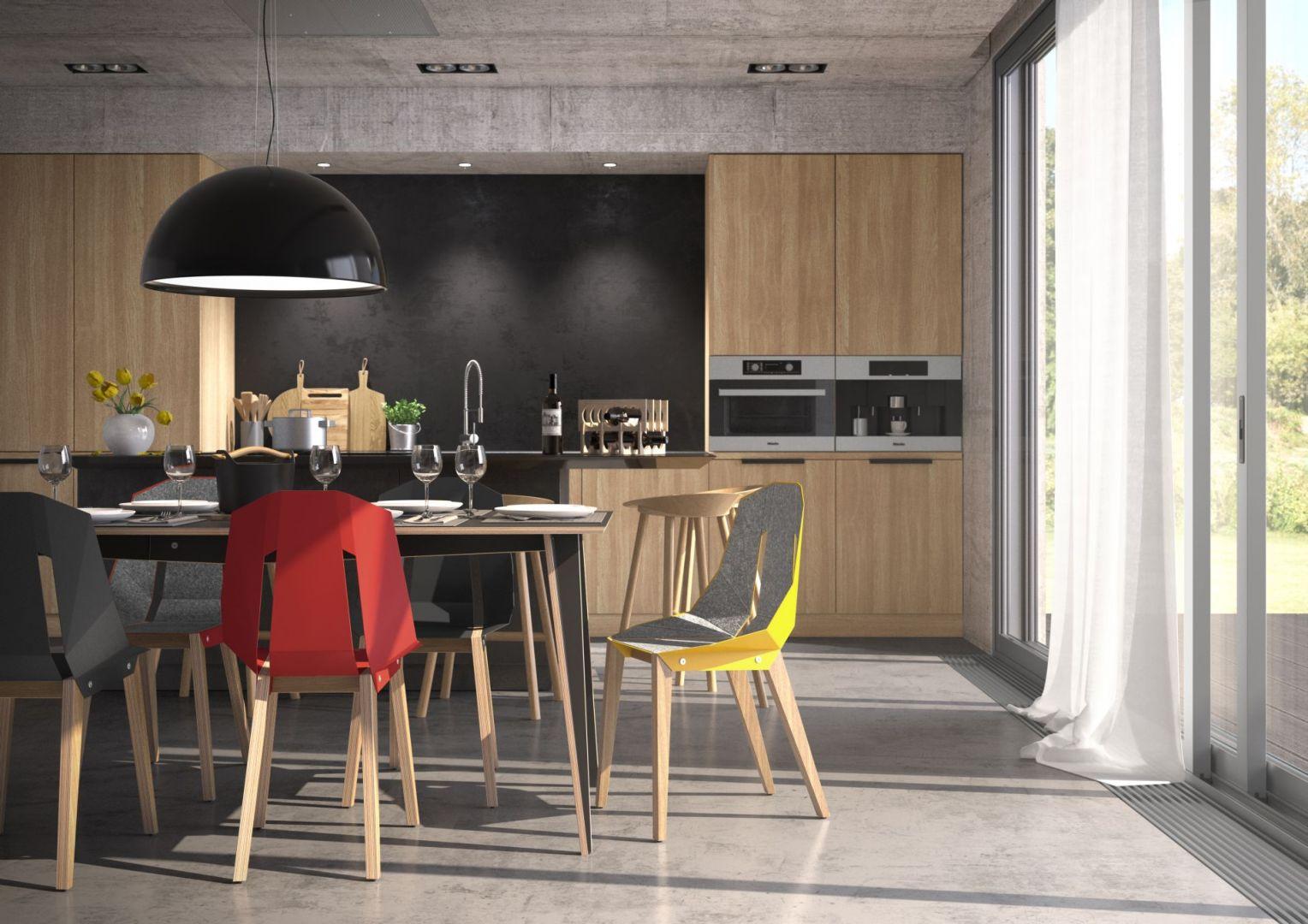 Krzesła Diago z pracowni Tabanda. Świetny i nagradzany polski design! Dostępne w wielu kolorach. Nogi dębowe, siedzisko z blachy aluminiowej, wykończone filcem lub nie. 1265 zł, Tabanda
