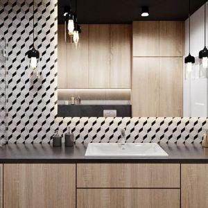 Płytki gresowe  w geometryczne wzory (Keros Barcelona Cube) to mocny element nie tylko w strefie umywalki, ale w całej łazience. Projekt i zdjęcia: Justyna Krupka, studio projektowe Przestrzenie