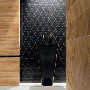Mozaika z kolekcji Inpoint jest połączeniem niewymuszonej formy i niezwykle szlachetnego designu. Składa się ona z czarnych polerowanych trójkątów, które stanowią tło dla nieregularnych, bursztynowych żyłek, przecinających płytkę. Inpoint - 69,99 zł/szt.