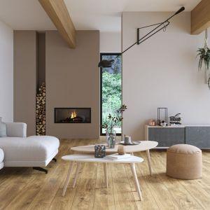 Kolekcja płytek gresowych Organic Wood inspirowanych drewnem. Na zdjęciu: wzór Huntwood beige. Cena: ok. 95 zł/m2 (20x20 cm). Fot. Cersanit