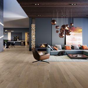 Podłoga dębowa Dab Amaretti Medio w kolorze ciepłej szarości. Jej niepowtarzalny charakter uwidacznia zróżnicowany rysunek drewna. Cena: ok. 240 zł/m2. Fot. Barlinek