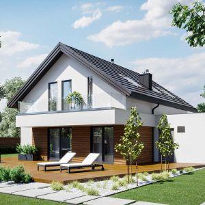 HomeKONCEPT 72 G2 to nowoczesny dom z poddaszem użytkowym i z garażem. Szacunkowy koszt budowy: 249.783 zł (stan surowy zamknięty). Projekt wykonano w Pracowni HomeKONCEPT