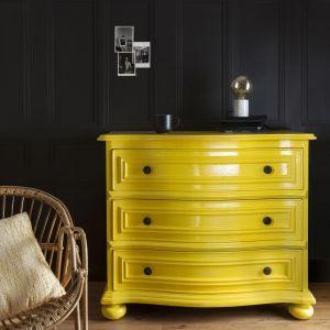 Na tle ciemnej ściany żywe kolory mebla prezentują się świetnie! Farba do drewna Blask Koloru, ok. 58 zł/0,5 l. Fot. Liberon