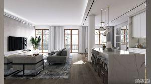 Apartament w stylu nowojorskim - salon. https://milkdesigns.pl/apartament_nowojorski.html
