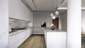Apartament w stylu nowojorskim - kuchnia. https://milkdesigns.pl/apartament_nowojorski.html