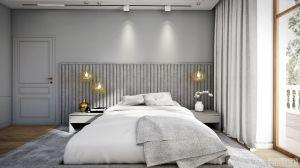 Apartament w stylu nowojorskim - sypialnia. https://milkdesigns.pl/apartament_nowojorski.html