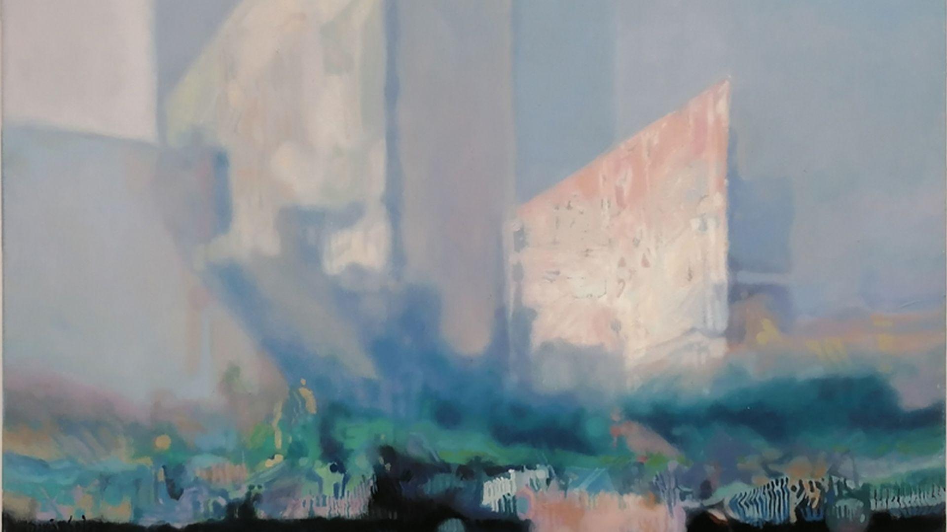 Daria Solar, Sky-Scrapers in the Mist, olej na płótnie, 50 x 70 cm, Leonarda Art Gallery, 3500 zł