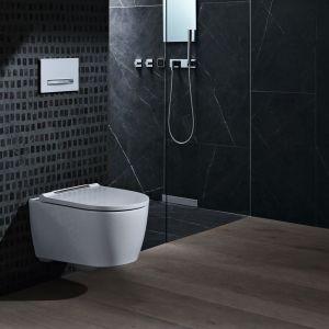 Toaleta wyróżnia się bezkołnierzowym asymetrycznym rozwiązaniem wnętrza miski WC, dzięki czemu wewnątrz gromadzi się mniej bakterii. Kształt umożliwia też dokładną dezynfekcję muszli.