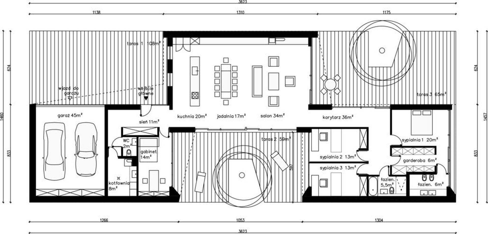 Dom z Tarasami - układ funkcjonalny wnętrza