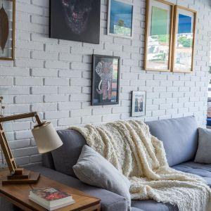 Ściana z białej cegły, prosta szara kanapa. Projekt: Momba Arquitetura, Argentyna. Zdjęcia: Guilherme Pucci