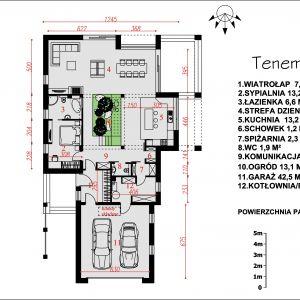 Rozkłada pomieszczeń na parterze. Nazwa projektu: Tenemona 2. Projekt wykonano w Pracowni Domy w zieleni