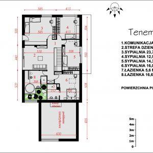 Rozkłada pomieszczeń na poddaszu. Nazwa projektu: Tenemona 2. Projekt wykonano w Pracowni Domy w zieleni