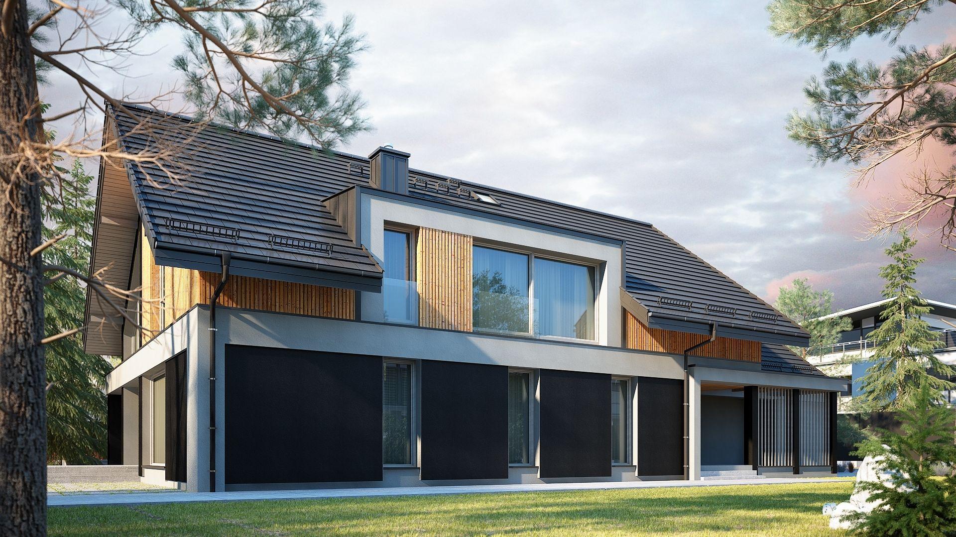 Bryła budynku, dzięki zastosowaniu na elewacji drewna i czerni prezentuje się bardzo elegancko. Nazwa projektu: Tenemona 2. Projekt wykonano w Pracowni Domy w zieleni