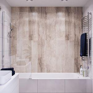 Panele ścienne można przykleić bezpośrednio na kafelki, wystarczy je wcześniej odtłuścić środkiem myjącym, tak by klej się dobrze trzymał. Fot. Vilo Motivo Brown-Marble. Cena ok. 87 zł za szt. 8 x 250 x 2650 mm, 32,99 zł / m2