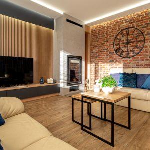 Ścianę za kanapę zdobią piękne cegiełki klinkierowe. Projekt: Anna Kamińska, Fuxja Studio Projektowe. Fot. Alla Boroń