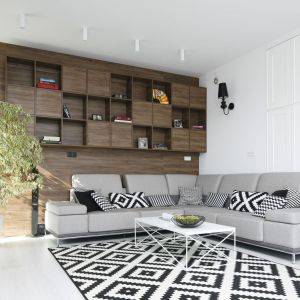 Ścianę za kanapę wykończono drewnianymi panelami w ciemny kolorze, na których powieszono otwarte i zamknięte półki. Można na nich coś wyeksponować, ale też coś w nich schować. Projekt: Maria Biegańska, Ewelina Pik. Fot. Bartosz Jarosz