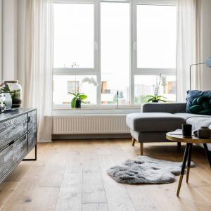 Szara sofa na tle białych ścian buduje skandynawski klimat we wnętrzu. Projekt Deer Design