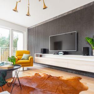 Telewizor wyeksponowano na ścianie z efektownymi panelami. Podwieszana szafka RTV optycznie powiększa przestrzeń. Projekt gama design współ Joanna Rej fot Pion Poziom