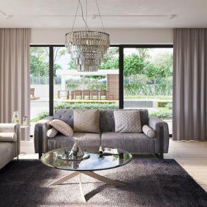 Wnętrze domu zostało zaprojektowane w bardzo przemyślany sposób w oparciu o najnowsze trendy aranżacyjne. Nazwa projektu: HomeKONCEPT 59. Projekt wykonano w Pracowni HomeKONCEPT