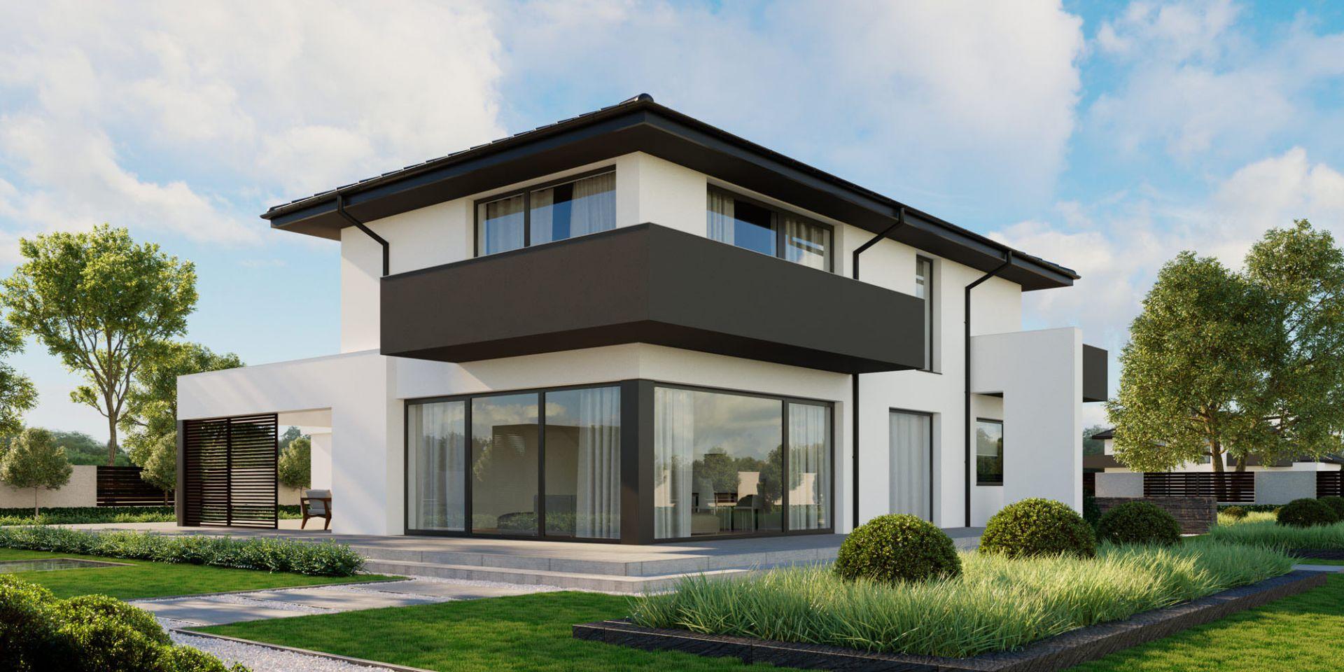Elementem łączącym obie części domu jest obszerny taras wypoczynkowy dostępny z pomieszczeń na piętrze. Nazwa projektu: HomeKONCEPT 59. Projekt wykonano w Pracowni HomeKONCEPT