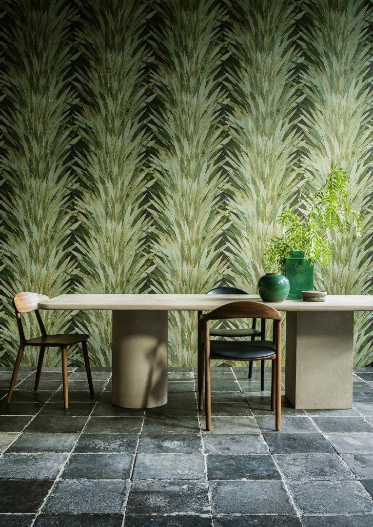 Kolekcja tapet z tropikalnymi motywami Selva wzór Abanico, producent Arte
