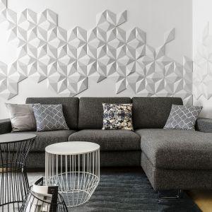 Prefabrykowane płytki z betonu architektonicznego 3D (kolekcja Diament, Klinika Betonu) tworzą piękną i bardzo ciekawą kompozycję na ścianie. Trójwymiarowa dekoracja w takim wydaniu doskonale wpisuje się w nowoczesną stylistkę salonu. Projekt: Anna Maria Sokołowska. Fot. Fotomohito