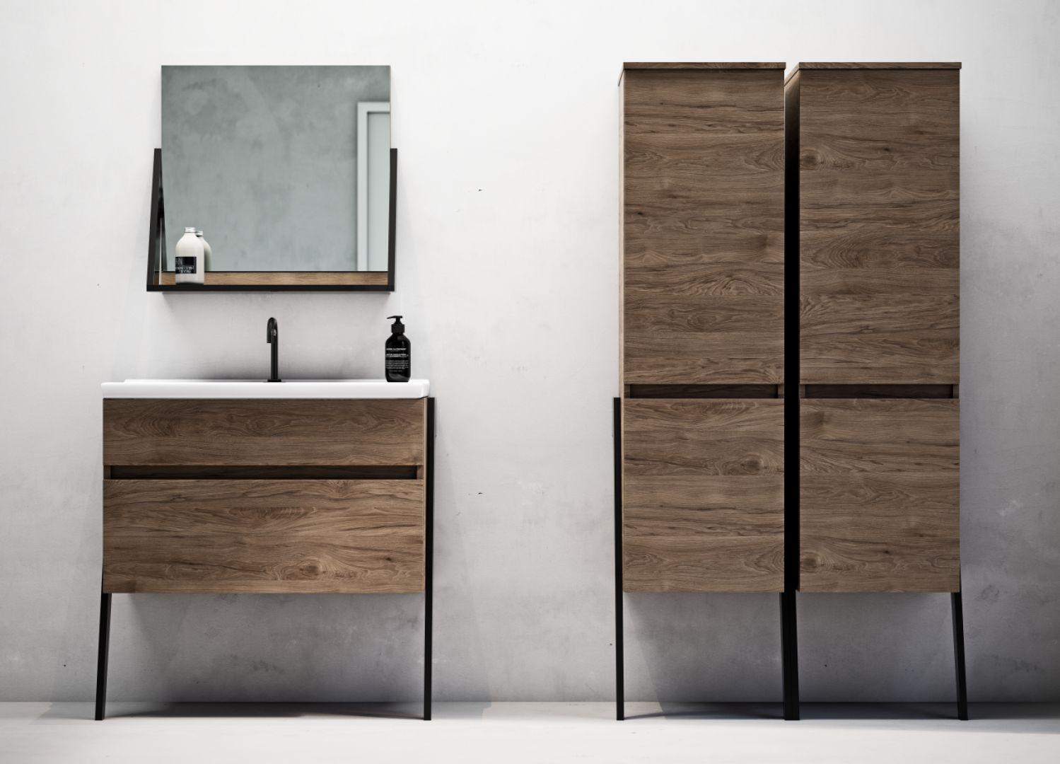 Kolekcja mebli łazienkowych Op-arty decor Rockford oak marki Defra. Cena od 1.020 zł/ szafka pod umywalkę 60 cm biała