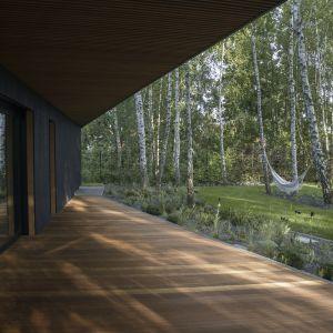 Nowoczesna forma architektoniczna otwarta jest na ogród dużymi przeszkleniami. Projekt 89 Stopni. Fot. Anna Olczak