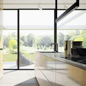 Kuchnia z pokaźną wyspą kuchenną. Projekt wnętrza: Adam Zwierzyński i Anna Porębska z pracowni MUS Architects