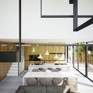 Całkowicie otwarta strefa dzienna. Projekt wnętrza: Adam Zwierzyński i Anna Porębska z pracowni MUS Architects