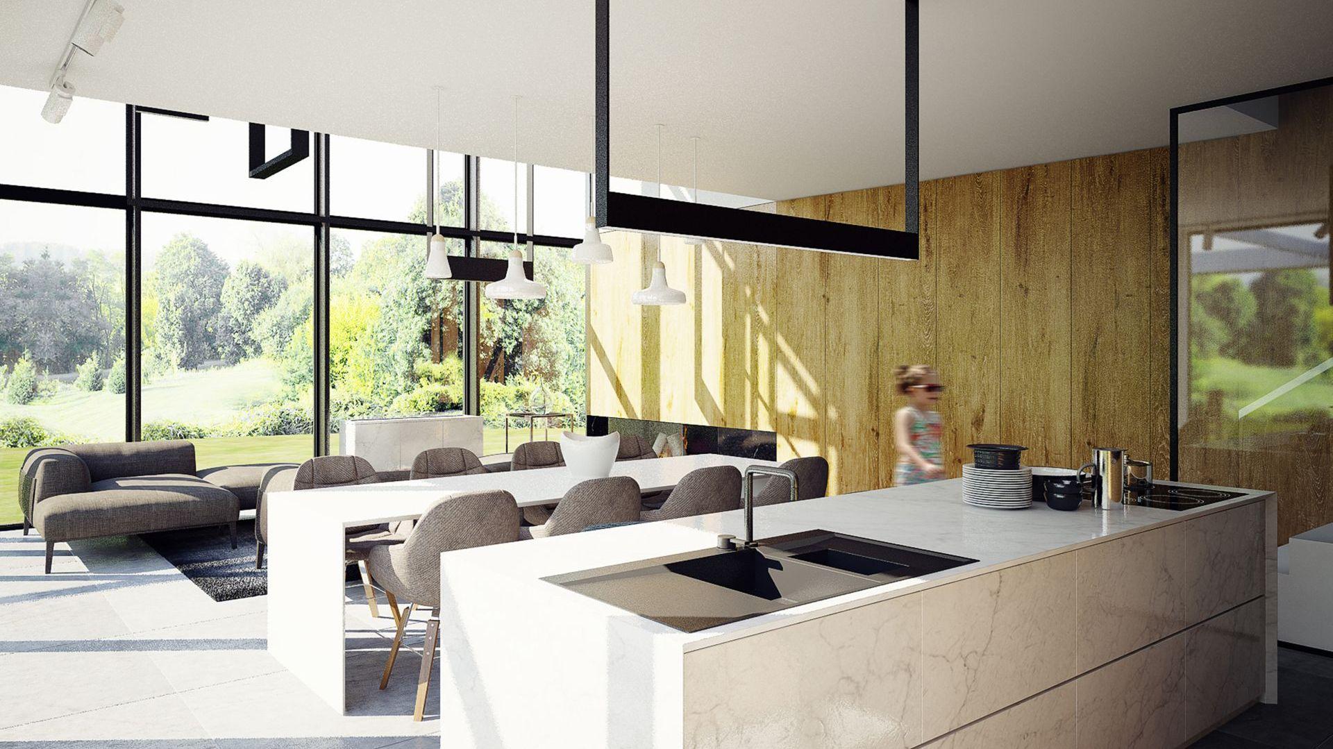 Minimalistyczna aranżacja podkreśla urodę natury na zewnątrz. Projekt wnętrza: Adam Zwierzyński i Anna Porębska z pracowni MUS Architects