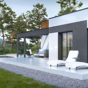 Efekt betonu na wykończeniu fasady. Fot. Foveo Tech