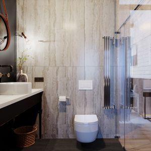 Łazienka mimo małych rozmiarów jest zaplanowana bardzo funkcjonalnie. Projekt: Anna Adamowicz, Filip Gołasz, Damian Machnik, Zakład Usług Projektowo-Architektonicznych ZUP-A