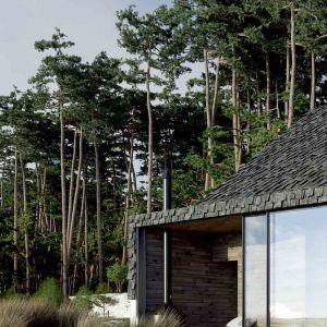 Dom pięknie otwiera się na otaczający krajobraz. Projekt: Anna Adamowicz, Filip Gołasz, Damian Machnik, Zakład Usług Projektowo-Architektonicznych ZUP-A