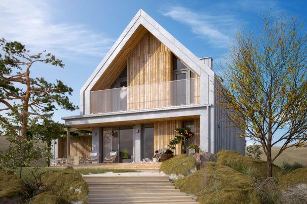 Ten dom z poddaszem i dwustanowiskowymgarażem ma powierzchnię 110 m2. Modne przeszklenia, doświetlone wnętrze, drewniany taras, a dodatkowo zmieści się na niewielkiej działce.