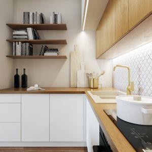 Minimalistyczne szafki kuchenne i drewniany blat kuchenny. Projekt Marta Ogrodowczyk, Marta Piórkowska. Wizualizacja Elżbieta Paćkowska