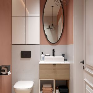 Przechowywanie kosmetyków czy akcesoriów łazienkowych za zamkniętymi drzwiami szafki pozwoli nam utrzymać w łazience większy porządek. Kolekcja mebli Torino. Fot. NAS