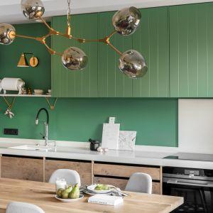 Zielone fronty szafek ożywiają aranżację kuchni. Projekt Finchstudio. fot. Aleksandra Dermont Ayuko Studio