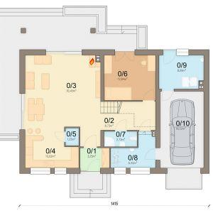 Rzut parteru 1. wiatrołap 3.25 m2 2. komunikacja 8.73 m2 3. salon 30.45 m2 4 kuchnia 10.02 m2 5 spiżarnia 1.25 m2 6 pokój 12.84 m2 7 łazienka 2.73 m2 8. pom. gospodarcze 6.42 m2 9. kotłownia 8.09 m2 10. garaż 18.52 m2