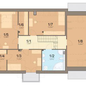Rzut poddasza 1. komunikacja 7.42 m2 2. łazienka 5.97 m2 3. pokój 11.22 m2 4. garderoba 2.61 m2 5. pokó j12.98 m2 6. garderoba 3.24 m2 7. pokój 12.29 m2 8. strych 15.46 m2