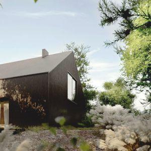 Projekt wyróżnia pomysł wykorzystania jednego materiału na elewację i dach. Projekt: Domy z Głową, Pracownia Architektury Głowacki