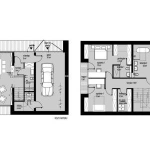 Rzuty wnętrz - wersja M. Projekt: Domy z Głową, Pracownia Architektury Głowacki
