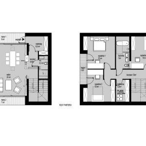 Rzuty wnętrz - wersja S. Projekt: Domy z Głową, Pracownia Architektury Głowacki