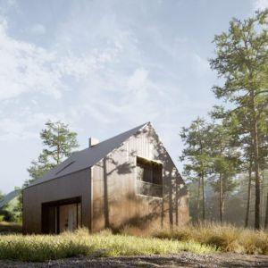 Zwarta bryła niepodpiwniczonego domu z dwuspadowym, symetrycznym dachem mieści dwa zadaszone tarasy połączone z ogrodem oraz loggie na piętrze. Projekt: Domy z Głową, Pracownia Architektury Głowacki