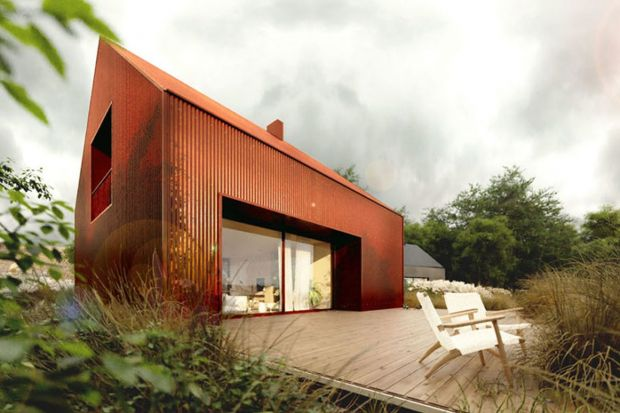 Marzycie o nowoczesnym domu innym niż wszystkie? Może to wasz projekt? Dom w Kolorze wyróżnia pomysłwykończenia całości jednym materiałem – blachą falistą lub struktonitem w wybranym kolorze.