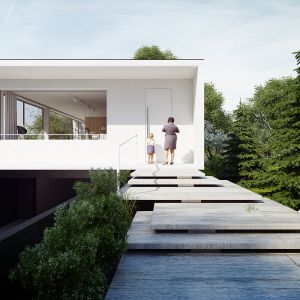 Budynek ma formę jednokondygnacyjnego modernistycznego pawilonu z wysuniętymi gzymsami i balkonem oraz dużymi przeszkleniami. Dom Pod Lasem. Projekt: Anna Porębska, Adam Zwierzyński, MUS Architects