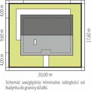 Usytuowanie na działce. Projekt Kornel V Energo, pow. 90,97 m. Szacunkowy koszt budowy: 270 tys. zł (stan deweloperski). Pracownia projektowa Archipelag
