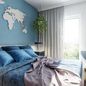Drewniana mapa świata jako dekoracja ściany za łóżkiem. Projekt Marta Ogrodowczyk, Marta Piórkowska. Wizualizacja Elżbieta Paćkowska