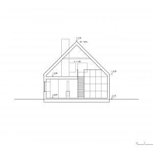 Przekrój domu Finn. Propozycja projektu wnętrza domu Finn. Fot. Supergut Studio